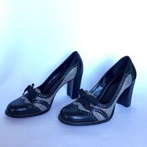 Franco Sarto Houndstooth Chunky Heels Size 7.5